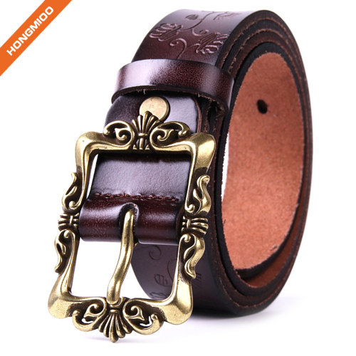 Women's Cowhide Leather Belt Pin Buckle With Flower Pattern