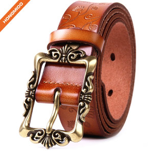 Women's Cowhide Leather Belt Pin Buckle With Flower Pattern