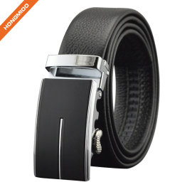 Men's Black Zinc Alloy Ratchet Genuine Leather Belts