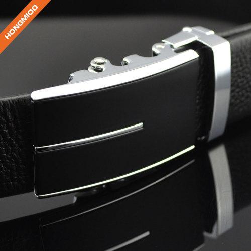 Men's Black Zinc Alloy Ratchet Genuine Leather Belts