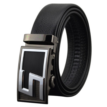 Black Alloy Sliding Automatic Buckle Full Grain Leather Leather