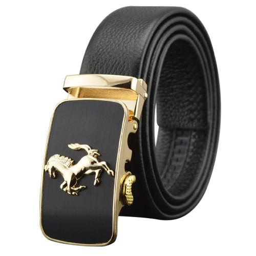 Full Grain Leather Horse Pattern Automatic Buckle Belt Men