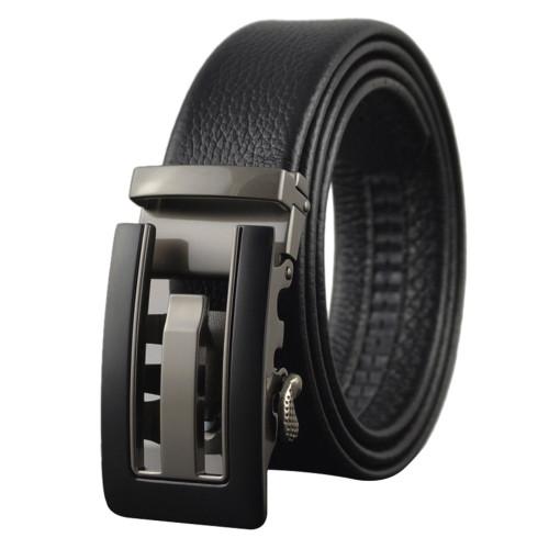 Mens Square Big Buckle Formal Ratchet Belt With Teeth