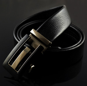 Mens Square Big Buckle Formal Ratchet Belt With Teeth