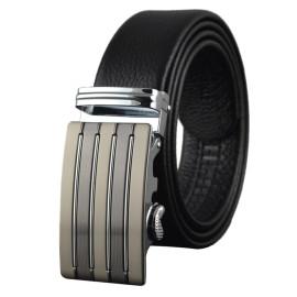 Men Designer Wide Adjustable Black Cowhide Leather Ratchet Belt