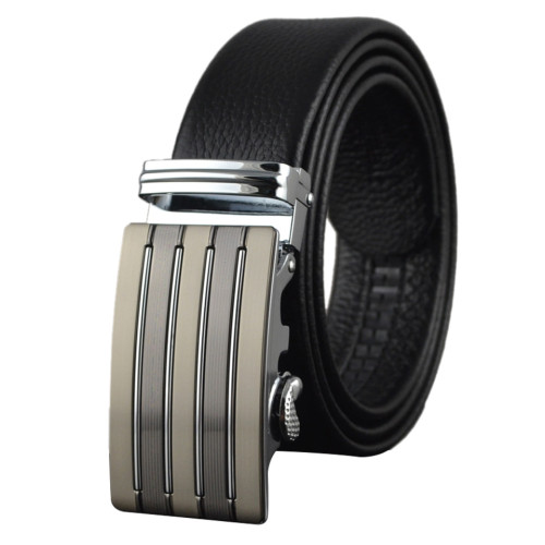 Men Designer Wide Adjustable Black Cowhide Leather Ratchet Belt