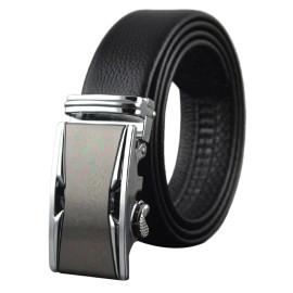 Mens Cowhide Adjustable Sliver Sliding Buckle Belt
