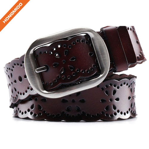 Hollow-Flower Design Lady Genuine Split Leather Double Use Pin Buckle Belt