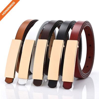 Women PU Skinny Leather Belt Women's Dressy Brown Snake Skin Textured Leather Belt