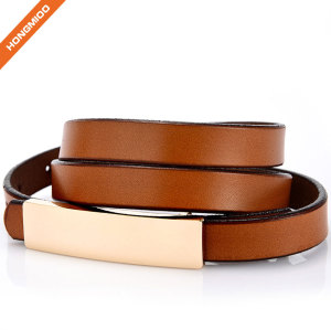 Women PU Skinny Leather Belt Women's Dressy Brown Snake Skin Textured Leather Belt