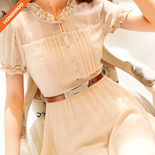 Women PU Skinny Leather Belt with Bow-knot Buckle