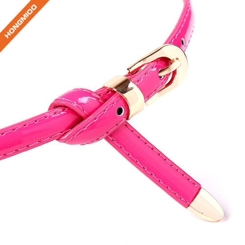 Women PU Skinny Leather Belt with Pin Buckle