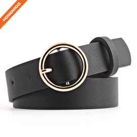 Women's Golden O Shape Pin Buckle Imitation Leather Belt