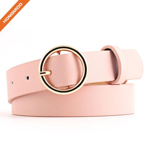 Women's Golden O Shape Pin Buckle Imitation Leather Belt