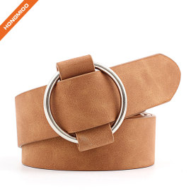 Fake Suede Leather Women's O Buckle Fancy Belt