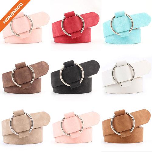 Fake Suede Leather Women's O Buckle Fancy Belt