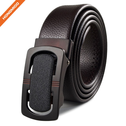 3.5cm Wide Faux Leather Belt with Nickel Auto Lock Ratchet Buckle