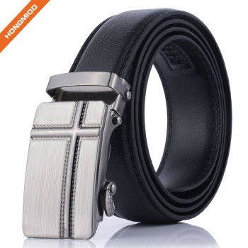 Black Imitation Leather Strap With Silver Finish Alloy Automatic Belt Buckles