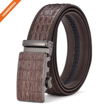 Crocodile Leather Embossed Belt PU Leather Ratchet Buckle Waist Belt