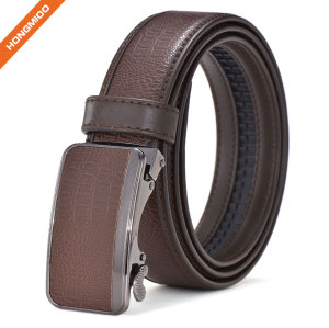 Men's Imitation Leather Ratchet Dress Belt with Automatic Slide Buckle