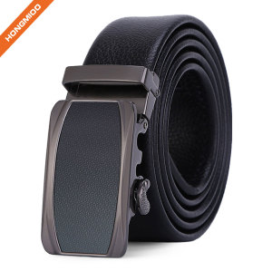 Mens Adjustable 35mm Wide Faux Leather Belt Automatic Buckle Accessory Strap
