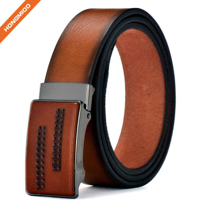 Men's Fashion Faux Leather Automatic Buckle Waist Strap Belt Gift Business Waistband