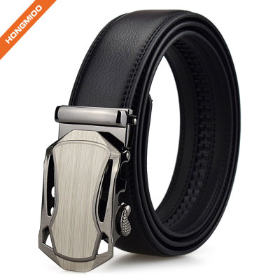 Men Faux Leather Belt With Automatic Metal Buckle Slide Ratchet Belt