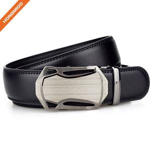 Men Faux Leather Belt With Automatic Metal Buckle Slide Ratchet Belt