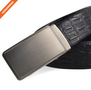 Embossed Pattern PU Leather Strap Adjustable Click Belt with Automatic Sliding Buckle