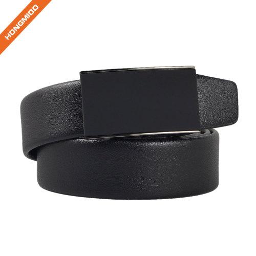 Click Buckle Belts Men's Faux Leather Ratchet Belt Black With Black Strap