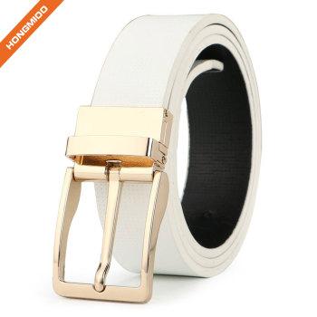 3.3cm White Full Grain Leather Reversible Buckle Belt For Male