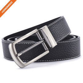 Black Reversible Pin Buckle Full Grain Leather With Stitches