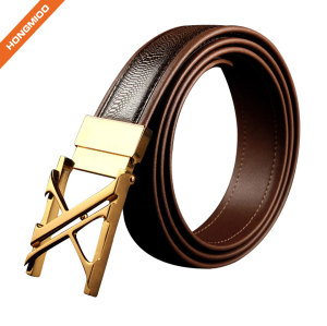 Fashion Brown Full Grain Leather Men Gold Buckle Belt