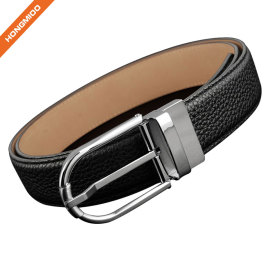Fashion Silver Brass Reversible Pin Buckle Belt For Men