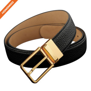 Men Full Grain Leather Brass Buckle Belt Custom Logo