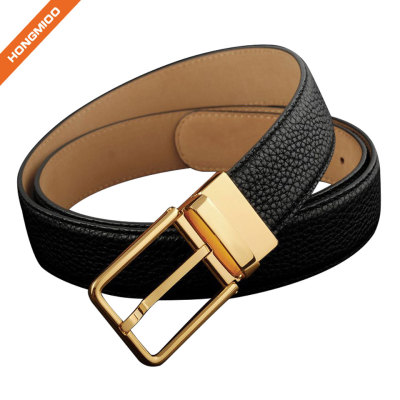 Men Full Grain Leather Brass Buckle Belt Custom Logo