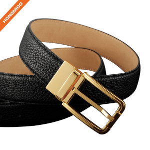 Top Grain Leather Reversible Rotated Buckle Belt For Dress