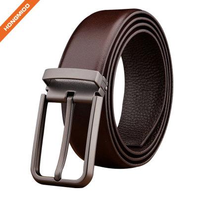Business Men Top Grain Leather Reversible Buckle Belt