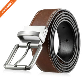 Men's Elegant Nickle Buckle Full Grain Leather Belt