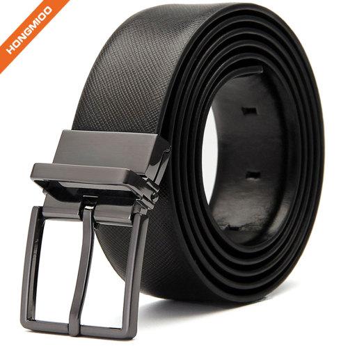 Black Men Dress Full Grain Leather Rotated Belt