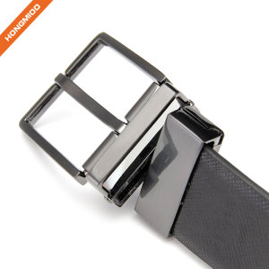 Black Men Dress Full Grain Leather Rotated Belt