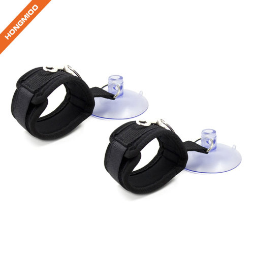 Imitation Leather Handcuffs Adjustable Soft Wrist Cuffs With Suction Cup