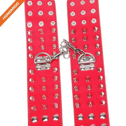 Soft Comfortable Leather Adjustable Handcuff Metal Rivet Handcuffs