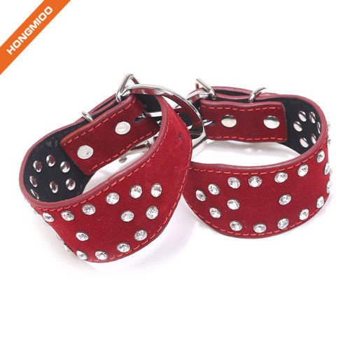 Imitation Leather Slave Suede PU Leather Handcuffs With Rhinestone
