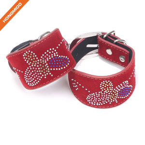 Artificial Leather Handcuffs Metal Lock Sexy Set With Rhinestone Butterfly