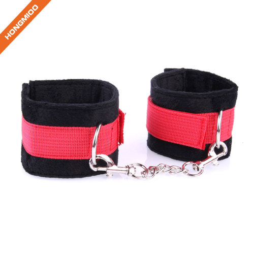 Soft Nylon Restrain Belt Metal Chain Sexy Play Handcuffs Suede Material Covered