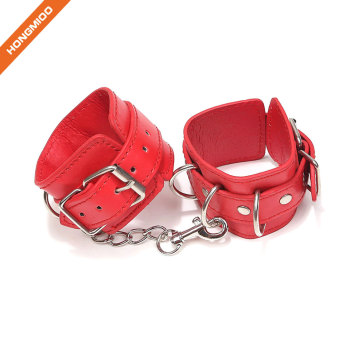 Durable Adjustable Sexy PU Leather Handcuffs Triple Ring G-Spot Set