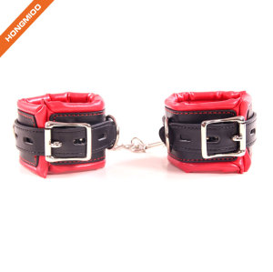 PU Leather Covered Handcuffs Soft Sponge Material SM Game Tools