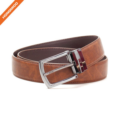 Brown Men Reversible Buckle Formal Business Belt