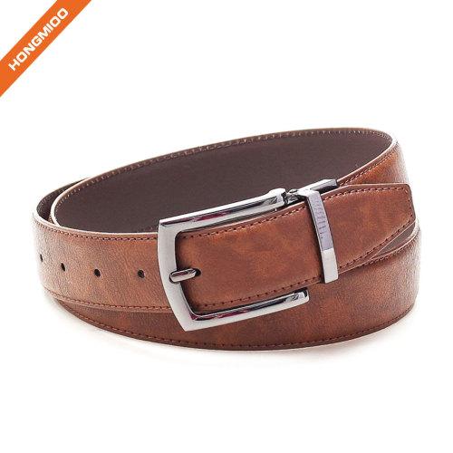 Brown Men Reversible Buckle Formal Business Belt